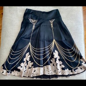 H&M Black, Gold and Pearl Colored Flare Skirt